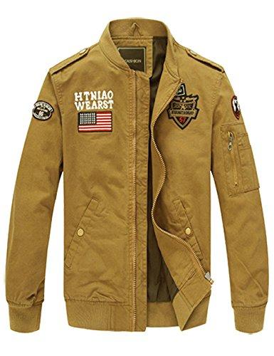 ROBO Manteau Casual Classique Homme Coton Veste Chaud Jacket Slim Fit Blouson Militaire Hiver Automne Kaki FR S