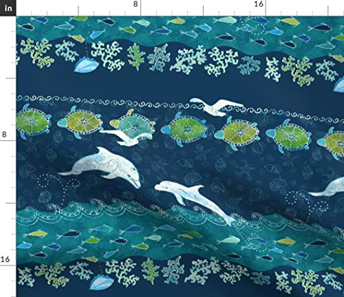 Spoonflower Fabric - Ocean Fish Turtles Sea Shells Printed on Petal Signature Cotton Fabric by The Yard - Sewing Quilting Apparel Crafts Decor
