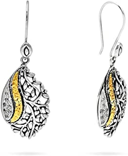 Deni Jewelry 925 Sterling Silver and 18K Gold Hook Earrings with Tree of Life Design and Curved Line set with White Topaz ...