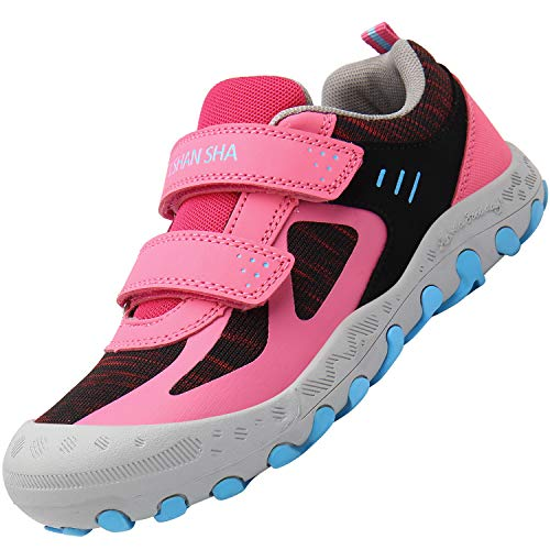 Mishansha Kinderschuhe Trekking Wanderschuhe rutschfest Hallenschuhe Mädchen Walking Schuhe Freizeit Turnschuhe Pink 26 EU