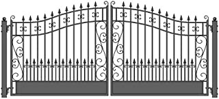 ALEKO DG16VEND Venice Style Dual Swing Galvanized Steel Driveway Security Gate 16 x 6 Feet Black