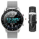 Smartwatch Anrufbeantworter EKG PPG Austauschbares Lederband Smart BraceletHerren Damen...