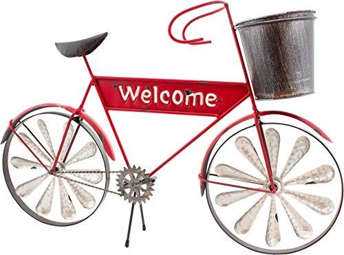 Brubaker Vintage Fahrrad Willkommen zum Bepflanzen mit Windspiel Rot - 54,5 x 36 x 11 cm - mit 2 Windrädern und Pflanztopf - Metall wetterfest mit Antik Effekt
