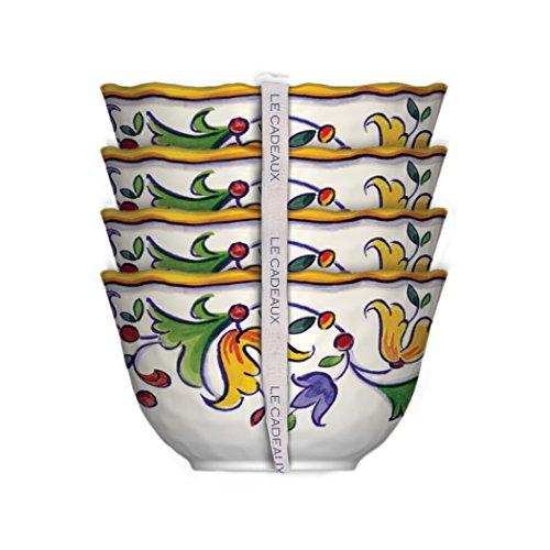 Le Cadeaux 098CAPR Melamine Capri Dessert Bowls, set of 4, white multi,large