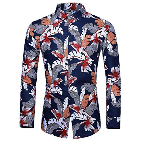 Heren Casual Klassiek Shirt Mode Sweatshirt Katoen Lichtgewicht Pullover Lange Mouw Hawaii Stijl Print Blouse Losse Shirt Sport Blouses Trainingspakken Ademende Top