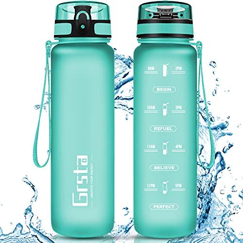 Grsta Botella Agua - Botella de Agua Deportes 800ml Botella Deportiva Tritan de Plástico Sin BPA con Filtro & Marcador de Tiempo para Niños y Adultos, Hogar y Exterior