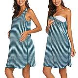 Evanhome Camisón de lactancia para mujer, para embarazo, nacimiento, ropa de noche, a rayas, ropa de maternidad, camisón corto azul/blanco M