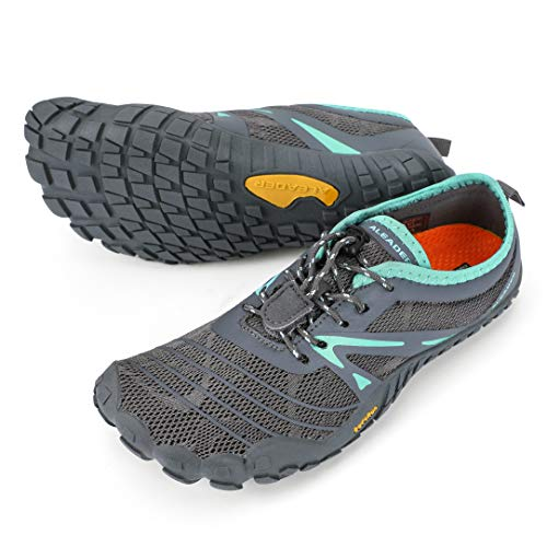 ALEADER Minimalist Shoes for Women Barefoot Trail Running Shoes Five Fingers Dark Gray/Aqua 9 M US Women