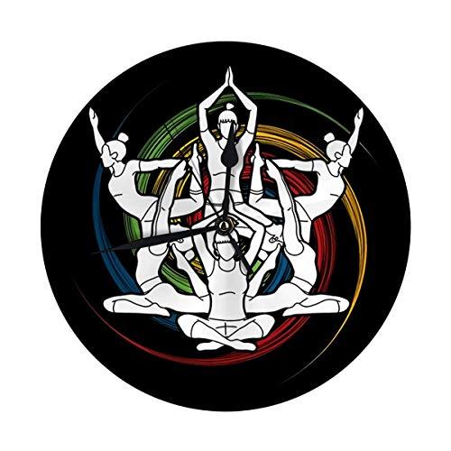 Night Ing Runde Wanduhr Yoga-Klasse Gruppe von Frauen Praxis auf Spin Wheel dekorativ für Zuhause, Büro, Schule entworfen