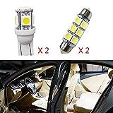 Para Carens Super brillante Fuente de luz LED interior L├бmpara de coche Bombillas de repuesto Blanco Paquete de 4