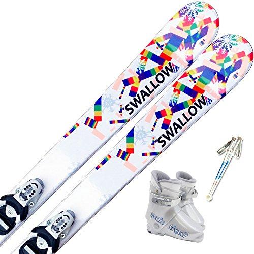スワロー(SWALLOW) 4点セット ジュニアスキー SNOW PAZZLE 100cm/ストック85cm, ブーツ19cm ワックス施工付き