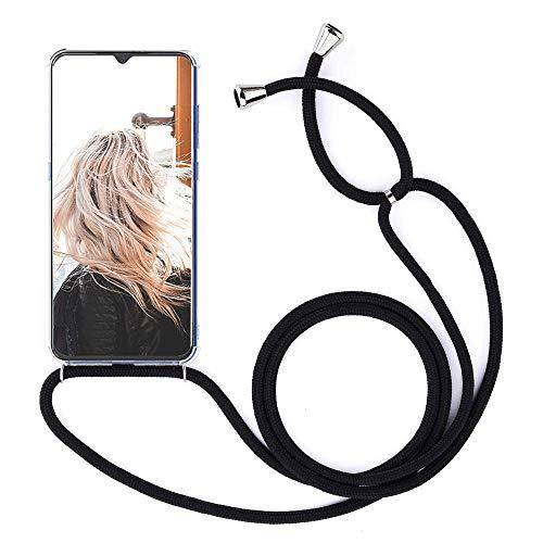 MXKOCO Carcasa de movil con Cuerda para Colgar Xiaomi Redmi S2 - Funda para Xiaomi Redmi S2 Case con Correa Colgante/TPU Necklace con Banda- con Cordon para Llevar en el Cuello - Negro