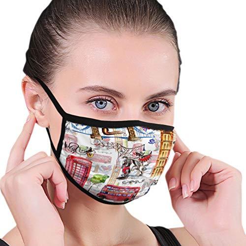 Cotton Half Face Mundmaske für Männer Frauen Staubdicht mit verstellbaren Ohrschlaufen Aquarell London Muster Großbritannien Hand gezeichnete Symbole rote Telefonzelle Big Ben Uhr Flagge Helm Retro