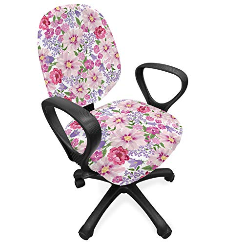 Lunarable Flower Office Chair Slipcover, Floral Seamless Texture with Flowers Lavenders Spring Freshness Garden Image, Protective Stretch Decorative Fabric Cover, Pink and Lilac