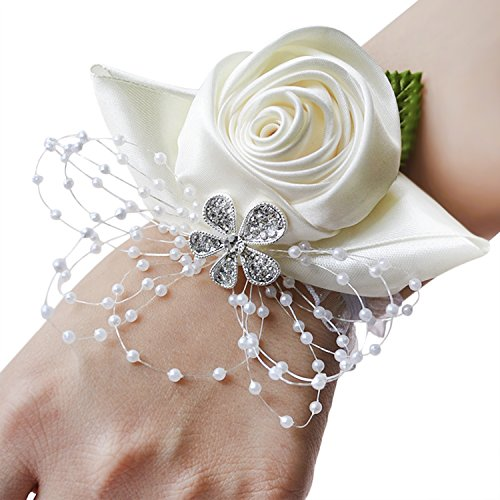 Braccialetto da polso per damigella d'onore, elegante, in raso, con rose, polsino con decorazione floreale per feste, veglione studentesco, matrimonio, 1 pezzo taglia unica avorio