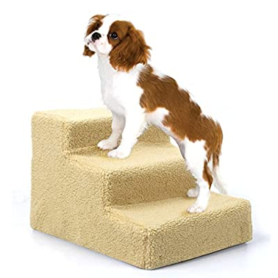 Amzdeal Dog Stairs 3 Steps Pet Dog Easy Climb Fleece Covered Pet Stairs with Removable cover