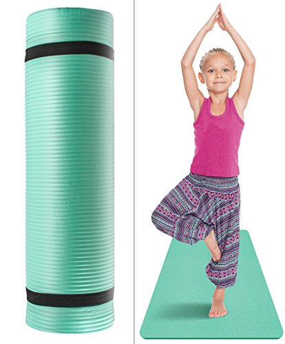 Sivan Health and Fitness Kids Exercise Yoga Mat with Carry Strap - for, Yoga & Pilates, Great for Kid Athletes, Dancers, Gymnasts, Tummy Time etc, 1/2-Inch Extra Thick, NBR Comfort Foam (Teal)