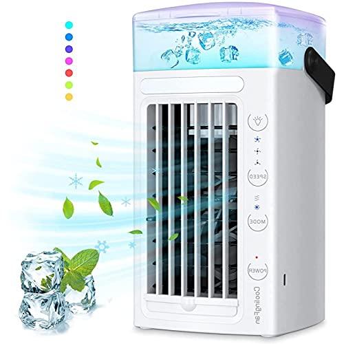 Ventilador De Hielo - Luces Led De 7 Colores Climatizador Portatil Frio Calor - Cree Su Zona De Enfriamiento Personal Ventilador Portatil Coche , para El Hogar, La Oficina, El Dormitorio, La Cocina