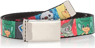 Buckle-Down Web Belt, POKEMON/Tepig/Oshowatt/Pikachu/Snivy/Axew/Pansage Panels Grays, 1.0