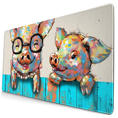 NiYoung Mouse Pad Two Funny Pig Rectangle Non-Slip Rubber Mousepad Gaming Mouse Pad