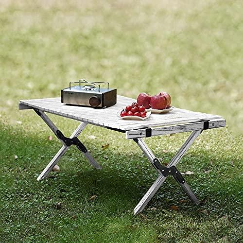 ウッドロールトップテーブル キャンプ テーブル アウトドアテーブル天然木製 簡単組立 収納バッグ付き 便利 折りたたみ テーブル 90cm