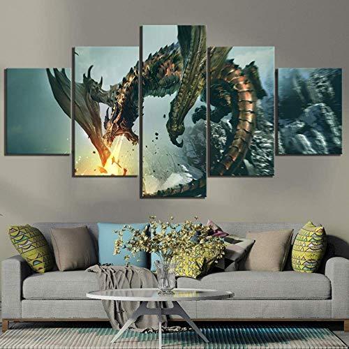X&MM 5 Stück Fantasie-Kunst-Drache Bild The Elder Scrolls V Skyrim Videospiel Poster Leinwandgemälde Wand-Kunst für Hauptdekor,A,XL