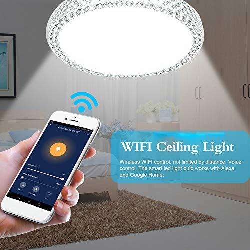 OWSOO 48W Lámpara de Techo WiFi, Control Remoto de App Cloud Intelligence, Sincronización, Compatible con Amazon Alexa/Google Home/IFTTT, Luz Regulable Techo para Pasillo/Comedor/Dormitorio