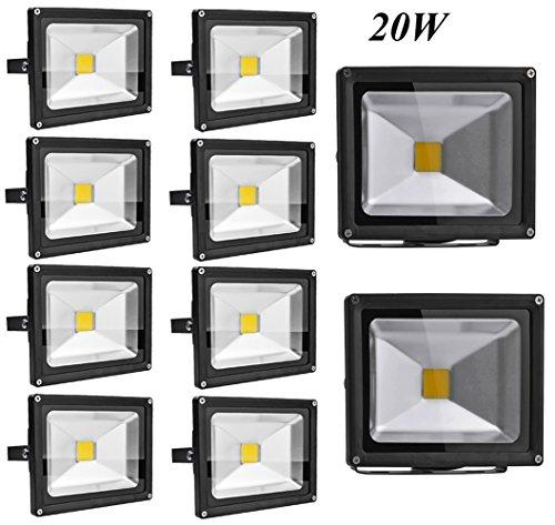 Leetop 10X 100W 50W 30W 20W 10W Super Brilliant 85-265V IP65 Waterproof Extérieur/Intérieur Spot LED Projecteur de Lumière d'inondation Blanc Froid(20 Watts)