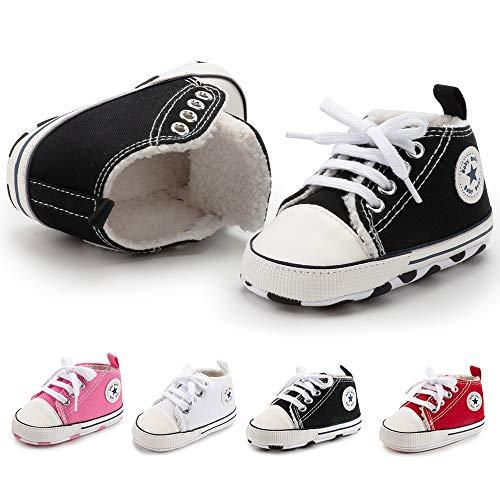 BiBeGoi Baby-Sneaker für Jungen und Mädchen, aus Segeltuch, hohe Schnürung, Freizeitschuhe für Neugeborene, Krippenschuhe, Lauflernschuhe, Schwarz - A01 schwarz mit Fleece - Größe: 0-6 Monate