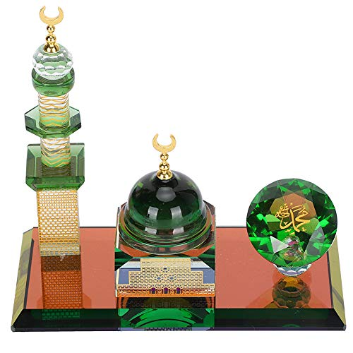 Pssopp 3D Mosque Architecture Model Kits Muslim Crystal Ornaments Islamic Home Table Decor Showpiece for Home Desktop Car Decoration Gifts