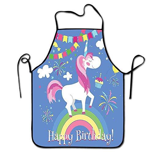 Not Applicable Delantal de Fiesta de Unicornio Jardinería Cita de Feliz cumpleaños con Animal de Cuento de Hadas Marchando en Arco Iris con Globos Barra de Delantal Multicolor