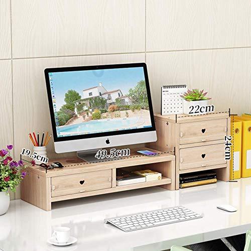 Tafelbladmonitorstaander openbreken, televisietoestel, pc-laptopscherm, computermonitorstandaard, met opslagorganisator voor houten bureau-organisator-A van het Duitse Ministerie van Binnenwerk Q