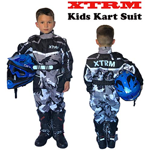 Kinder Kart Anzug XTRM Motorrad Quad Off-Road Suit Kinder Cross Sports Rennanzug für Motocross, Dirt Bike MX ATV PITBIKE Kart Motorroller Overall (Camo Grau,L)