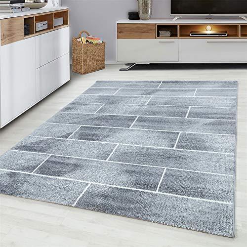 Ayyildiz Teppich-Teppich Modern Designer Kurzflor Steinwand Muster Stein Mauer, Polypropylen, Grau, 80 X 150