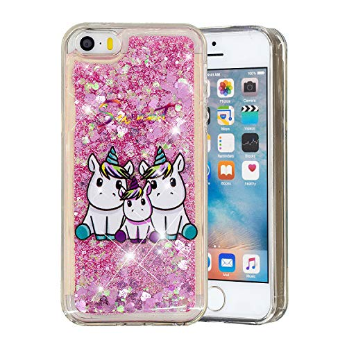 HopMore Compatible para Funda iPhone 5S / SE / 5 Silicona 3D Glitter Liquido Brillante Purpurina Transparente Dibujo Carcasa Resistente Antigolpes Caso Protección Soft Cover - Familia Unicornio