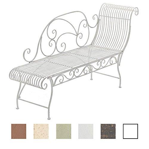 CLP Banc de Jardin Karma en Fer Forgé - Banc avec Récamière - Banquette de Jardin Style Romantique - Chaise Longue de Jardin en Fer - Couleur: Blanc Antique
