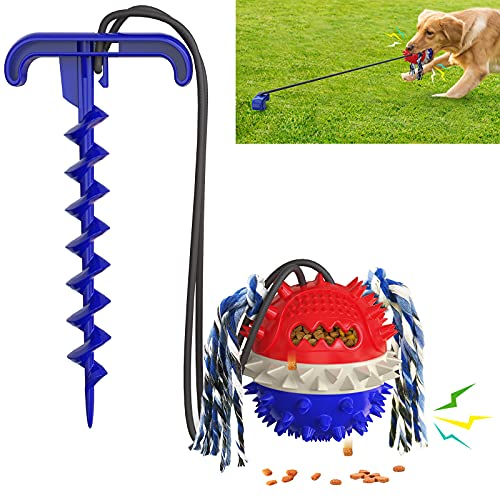 XXTUG Outdor Dog Toy Puppy Toys Tether Pet Squeaky Pull Tug Rope Balls / Help Your Dog Deal with Stress