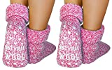 dunaro 2 Paar ABS Anti Rutsch Socken Wollsocken Stoppersocken Noppensocken Damen und Herren (2 Paar / 39-42 pink)
