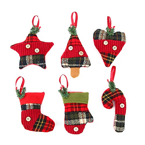 Tinksky Christmas tree Hanging Pendant Color Christmas Tree decoration for home office , 6 pcs