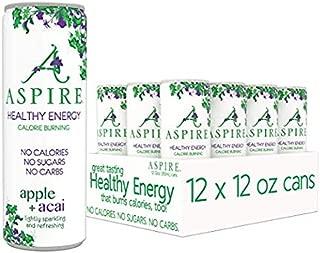 ASPIRE Healthy Energy, Calorie Burning, Zero Calorie, Zero Sugar Drink Apple + Acai 12-Pack