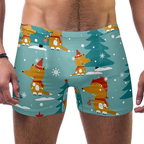 LORVIES Foxes Abete Neve Inverno Modello Uomo Nuoto Boxer Slip Breve Piazza Gamba Costume Da Bagno A Asciugatura Rapida, S Multi XX-Large
