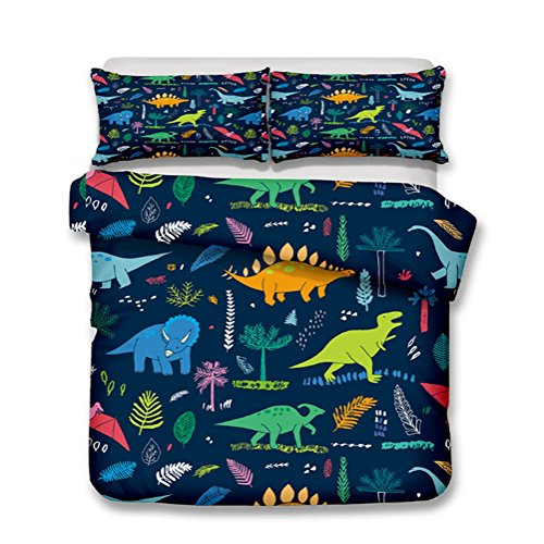 Very Soft Fabric Kid's Quilt Duvet Cover Set Dinosaur Design Bedding Sets Include Duvet Cover Pillowcases in Single Queen King Size,Perfet for Children's Bedroom