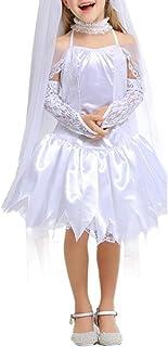 LOLANTA Vestido de Novia para niñas Disfraz de Novia Fantasma para niño Halloween Costume for Girls (10-11 años)
