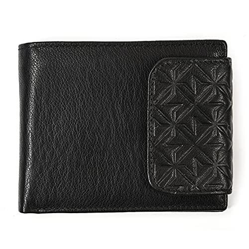 Monedero Billetera para Hombre, Bolso tríptico de bloqueo de cuero genuino de cuero de los hombres con 11 bolsillo de monedas con cremallera con soporte de tarjeta de crédito, billetera de ventana de