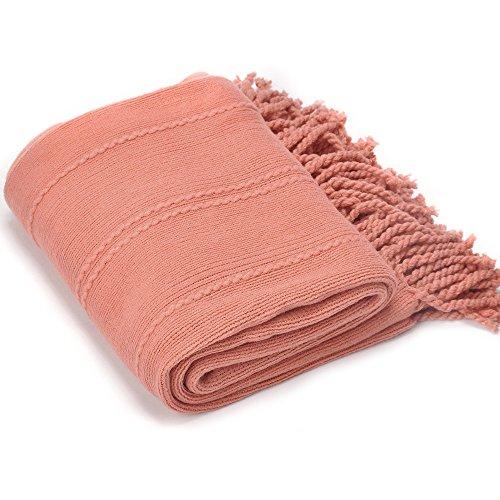 battilo INC Kabel Knit Woven Luxus Überwurf Decke mit mit Quaste Enden 127x 152,4cm, Lachsfarben, 50