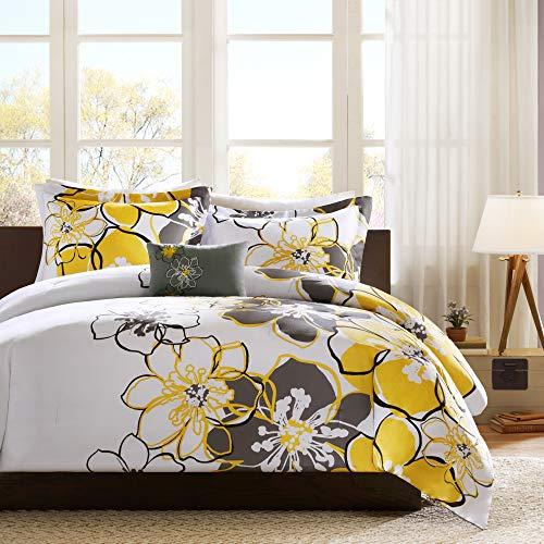 Mi Zone - Allison Comforter Set - Yellow - Full/Queen - Floral Pattern - Includes 1 Comforter, 1 Decorative Pillow, 2 Shams