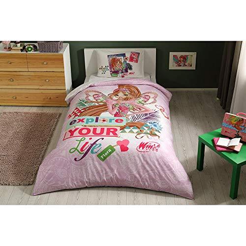Winx Flora Fairytale Bettwäsche-Set, 100% Baumwolle, Lizenzprodukt, Bettbezug und Kissenbezug, Spannbetttuch