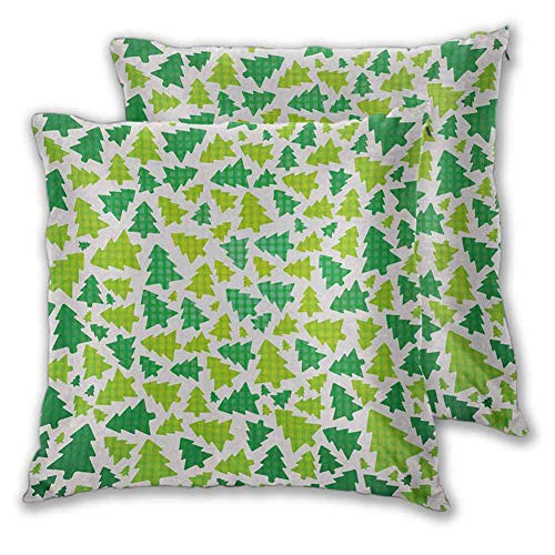 Christmas Pillowcase Indoor, 24 x 24 Inch Simplistic Fir Pine Tree Silhouettes with Checkered Pattern for Bedroom Christmas Decoration Fern Green Apple Green White Set of 2