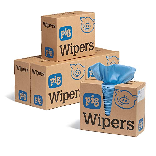 PR70 Maintenance Wipes by New Pig | Heavy-Duty Pop-Up Wipers in Dispenser Box | 9' x 16' 750 Wipers (6 Boxes of 125) | PIG Wipers | New Pig Wipes | WIP306, Blue