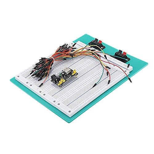 RLJJCS Kit DIY Kit SYB-500 PCB Combinación sin Soldadura Breadboard + MB102 Módulo de Potencia + 65 Cables de Puente Accesorios electrónicos